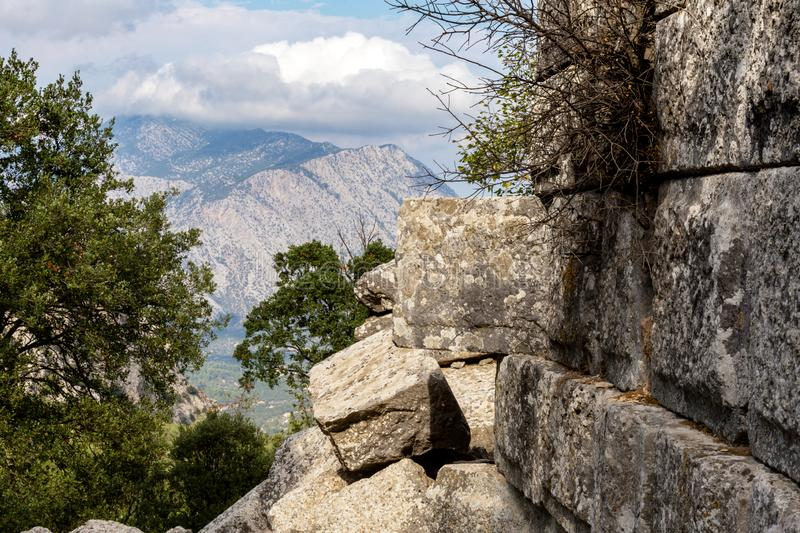 Ancient ruins at Termessos or Thermessos in the Taurus Mountains, Antalya province, Turkey. stock photos