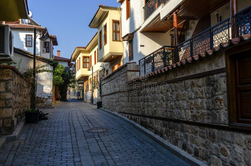 ANTALYA, TURKEY - JULY 26, 2019 : Houses in the Historical Distirict of Antalya Kaleici , Turkey. Old town of Antalya is stock images