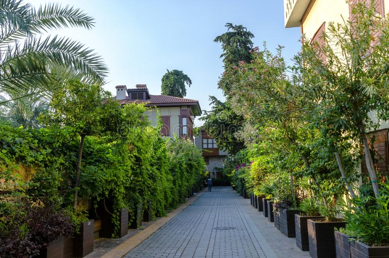 ANTALYA, TURKEY - JULY 26, 2019 : Houses in the Historical Distirict of Antalya Kaleici , Turkey. Old town of Antalya is. ANTALYA, TURKEY - JULY 26, 2019: Houses stock photos