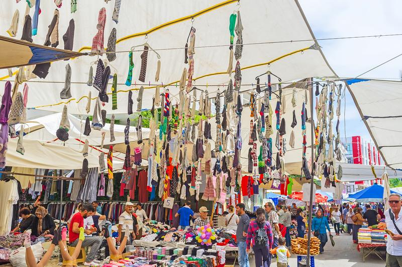 Garlands of dsocks in Antalya market stock images