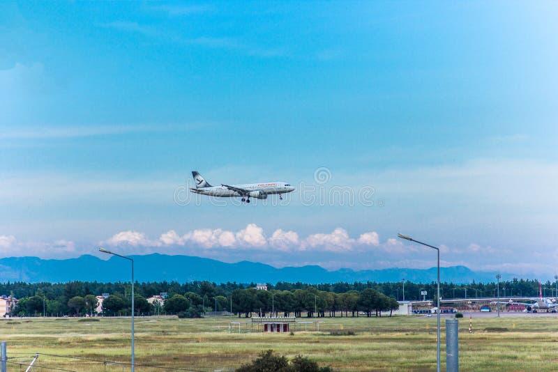 Antalya, Turkey -18 May 2018; International Antalya Airport the passenger plane is landing. Antalya Turkey. stock image