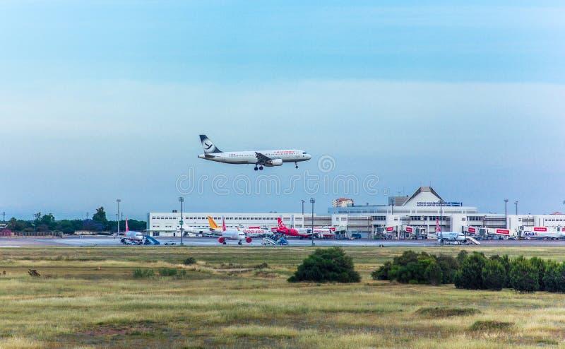Antalya, Turkey -18 May 2018; International Antalya Airport the passenger plane is landing. Antalya Turkey. stock images