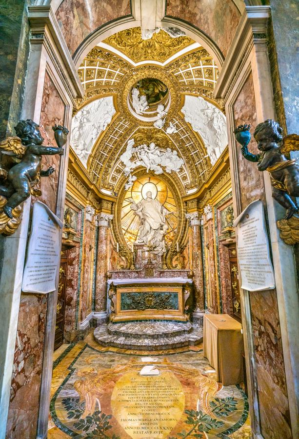 Antamoro Chapel or Chapel of Saint Philip Neri Church of San Girolamo della Carità in Rome, Italy. San Girolamo della Carità is a church in Rome, Italy royalty free stock photography