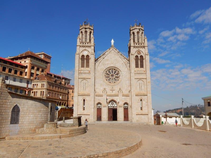 Madagascar, Antananarivo, Church Square with cathedral Andohalo royalty free stock image