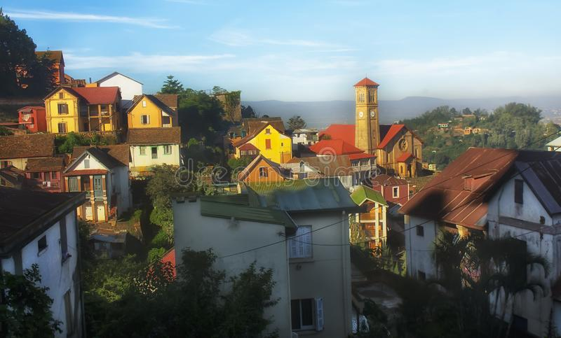Antananarivo, stad, Madagascar, stedelijke hemel, Afrika, de bouw, royalty-vrije stock afbeeldingen