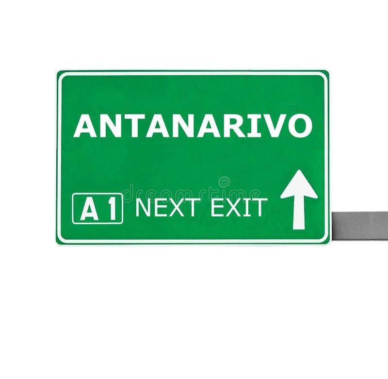 ANTANARIVO-Verkehrsschild lokalisiert auf Weiß lizenzfreie stockfotografie