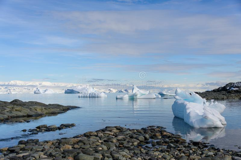 Beautiful antarctic landscape with icebergs royalty free stock images