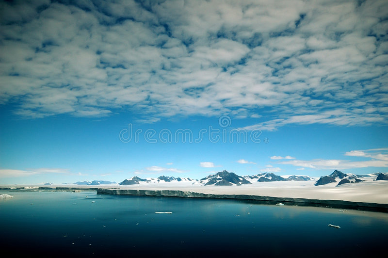 Antarctic Peninsula. Near Larsen area from helicopter perspective stock photo