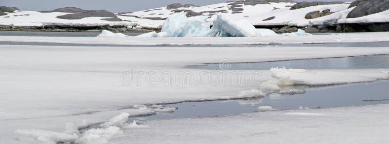 Antarctic sea ice. Crack in the sea ice along the Antarctic Peninsula stock image