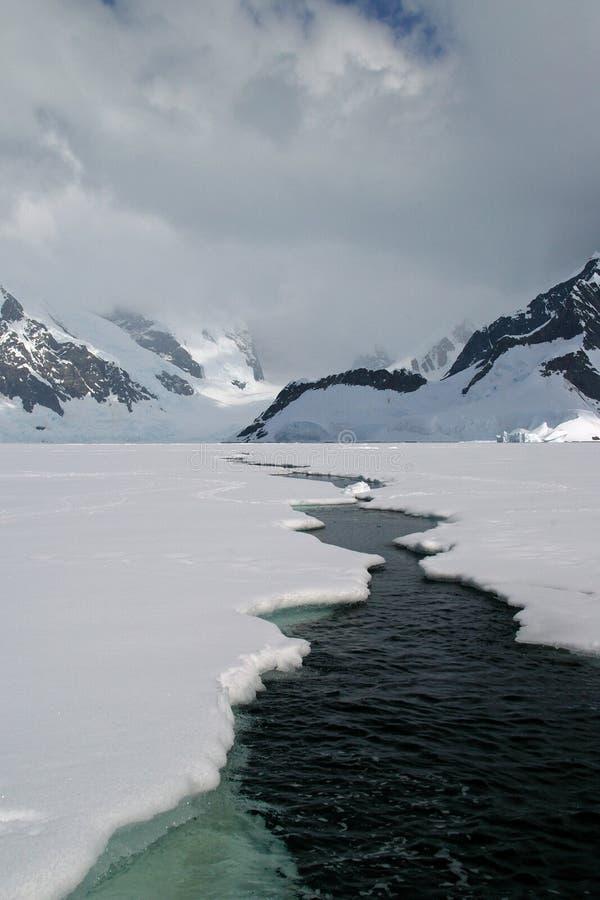 Antarctic sea ice. A crack in the Antarctic sea ice stock image