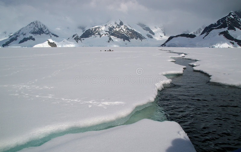 Antarctic sea ice. A crack in the Antarctic sea ice royalty free stock image