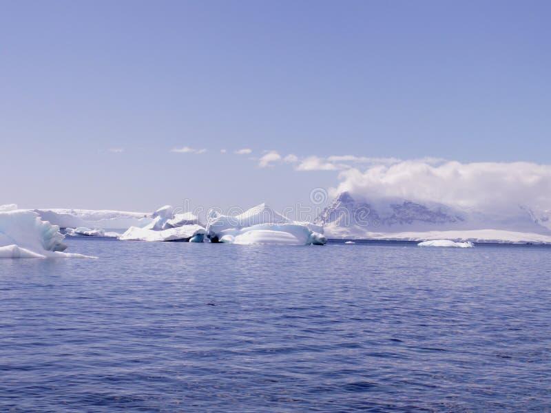 Antarctic sea with icebergs stock photo