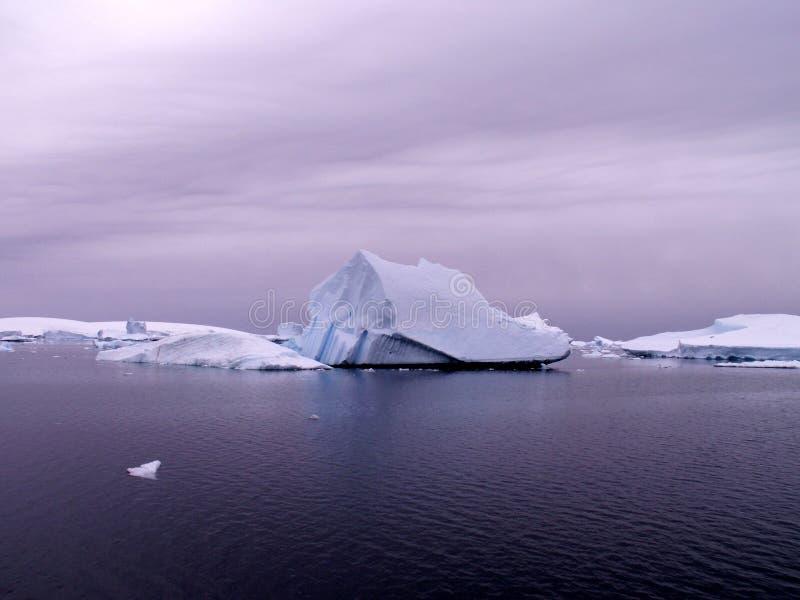 Antarctic sea with icebergs stock image