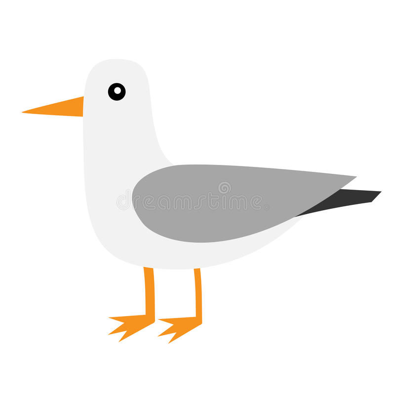 Antarctica albatross icon. Petrel Seagull wandering royal bird. Arctic animal collection. Cute cartoon baby character. Winter white background. Isolated. Flat royalty free illustration