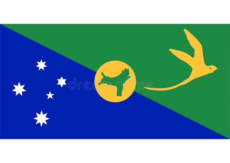 Antarctica Christmas Island flag. Blue green and yellow vector illustration