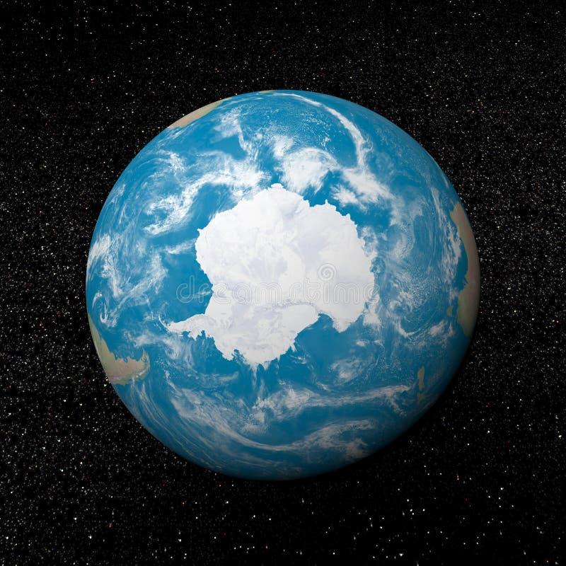 Antarctica on earth - 3D render stock illustration