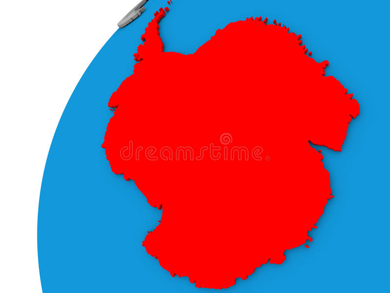 Antarctica on globe in red. Antarctica highlighted in red on globe with visible country borders. 3D illustration royalty free illustration