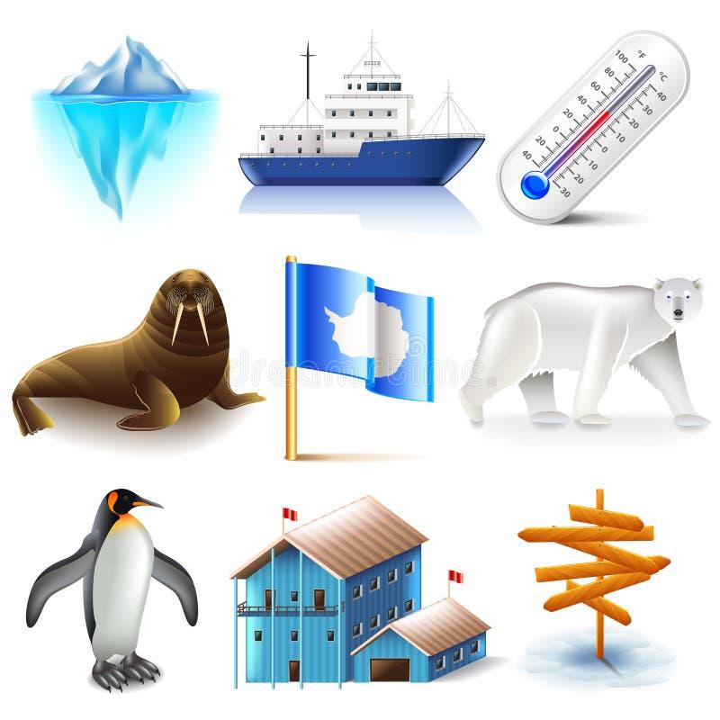 Antarctica icons vector set stock illustration