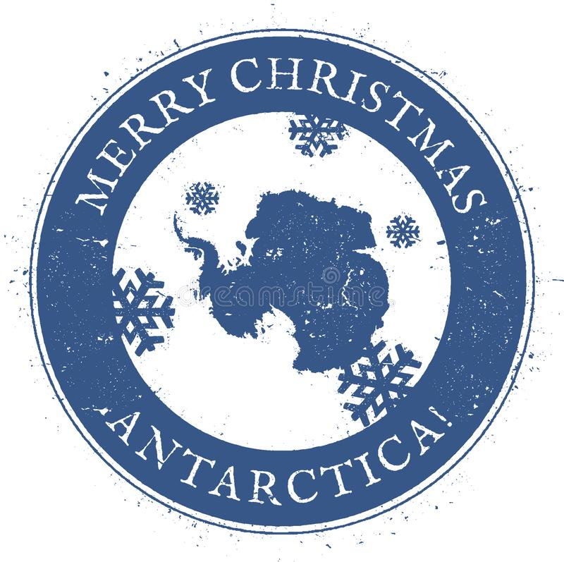 Antarctica map. Vintage Merry Christmas. Antarctica map. Vintage Merry Christmas Antarctica Stamp. Stylised rubber stamp with county map and Merry Christmas vector illustration