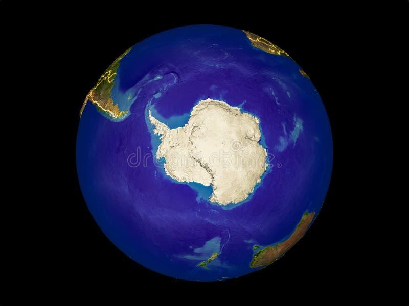 Antarctica na ziemi od przestrzeni ilustracja wektor