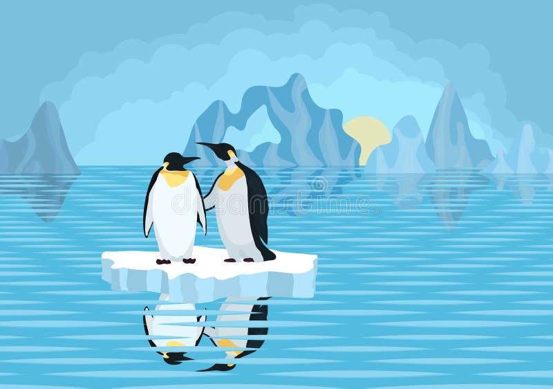 Antarctica pingwiny na lodowym floe w morzu ilustracja wektor