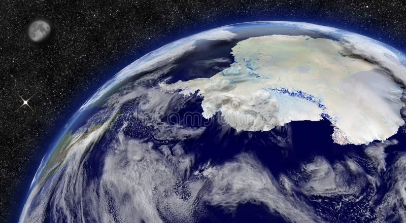 Antarctica on planet Earth stock illustration