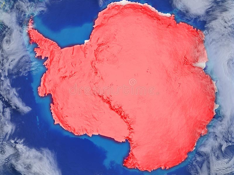 Antarctica on realistic model of planet Earth with very detailed planet surface and clouds. Continent highlighted in red colour. 3D illustration. Elements of vector illustration