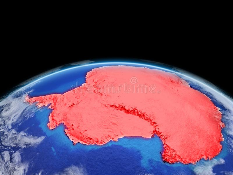 Antarctica in red on Earth vector illustration