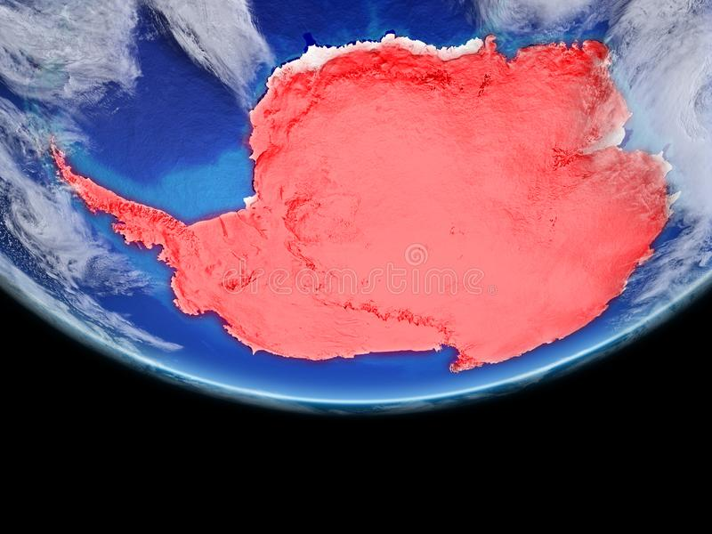 Antarctica in red on Earth royalty free illustration