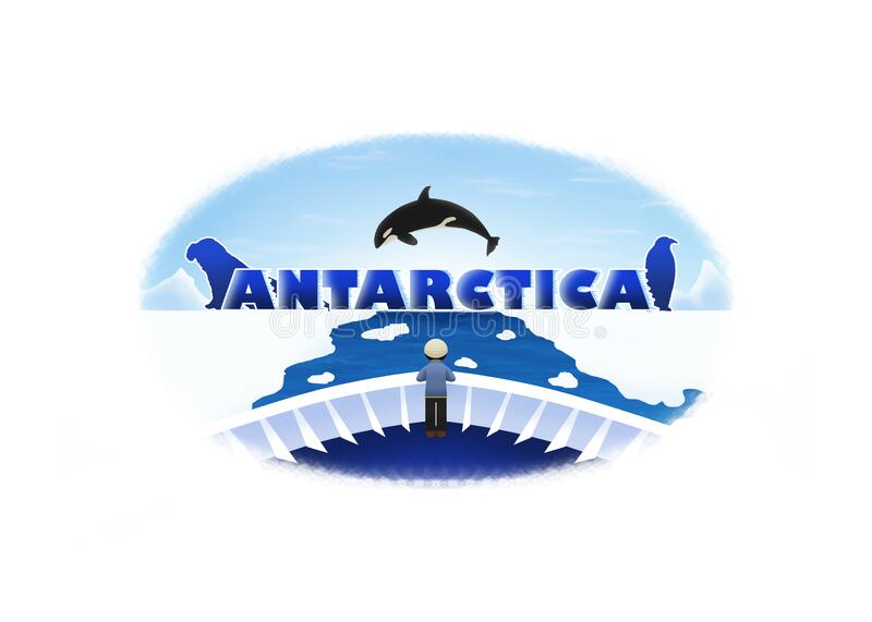 Antarctica Travel Logo. Logo of a ferry sailing through ice sheets from Antarctica sea with the frozen Antarctica letters, an elephant seal`s silhouette, an stock illustration