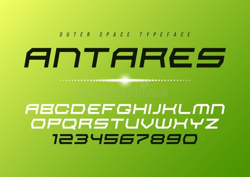Antares futuristic vector decorative italic font design, alphabe stock illustration