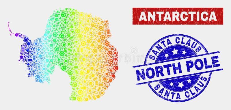 Antarktis för färgrik produktivitet återhållsam översikt och skrapade Santa Claus North Pole Watermarks vektor illustrationer