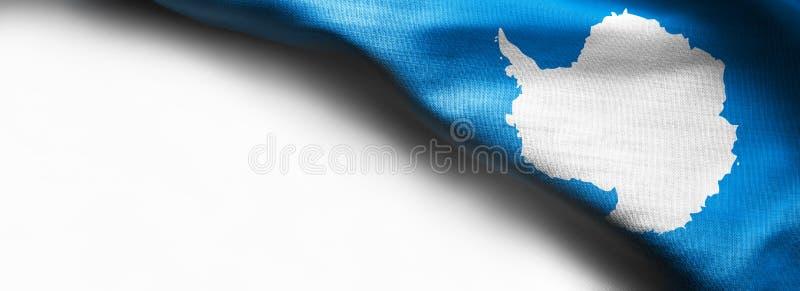 Antarktis flagga på vit bakgrund royaltyfria bilder