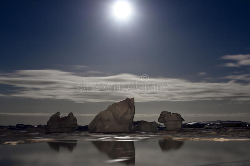 Antarktische Nacht stockfoto