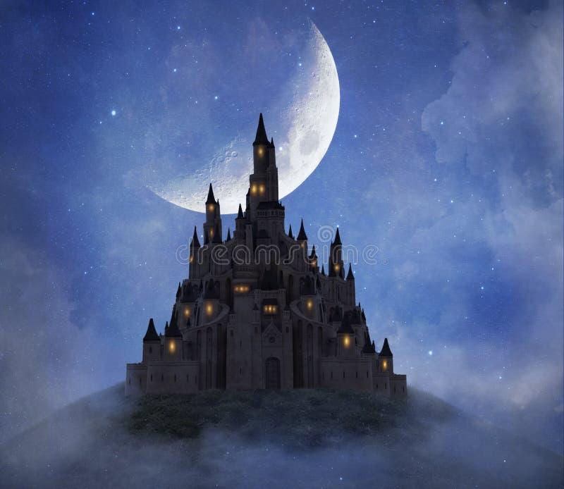 Antasy-Schloss auf dem Berg mit einem großen Mond Wiedergabe 3d lizenzfreie abbildung