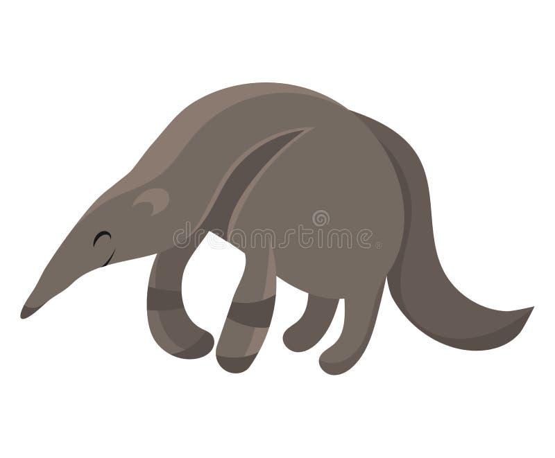 Anteante di cartone. Illustrazione vettoriale di un anteater. Disegnare animali per bambini. Zoo per bambini royalty illustrazione gratis