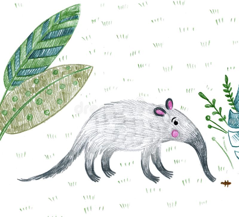 Anteater i djungeln äter termiter royaltyfri illustrationer