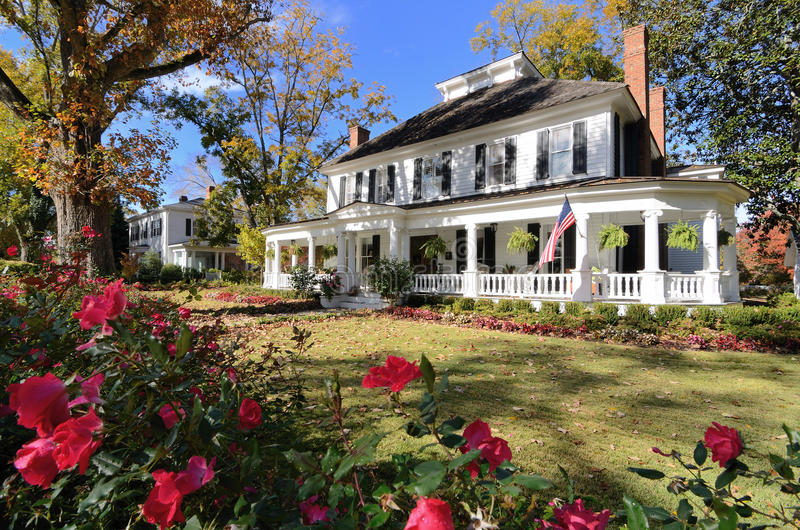 Download Antebellum House stock photo. Image of house, lawn, porches - 21999440