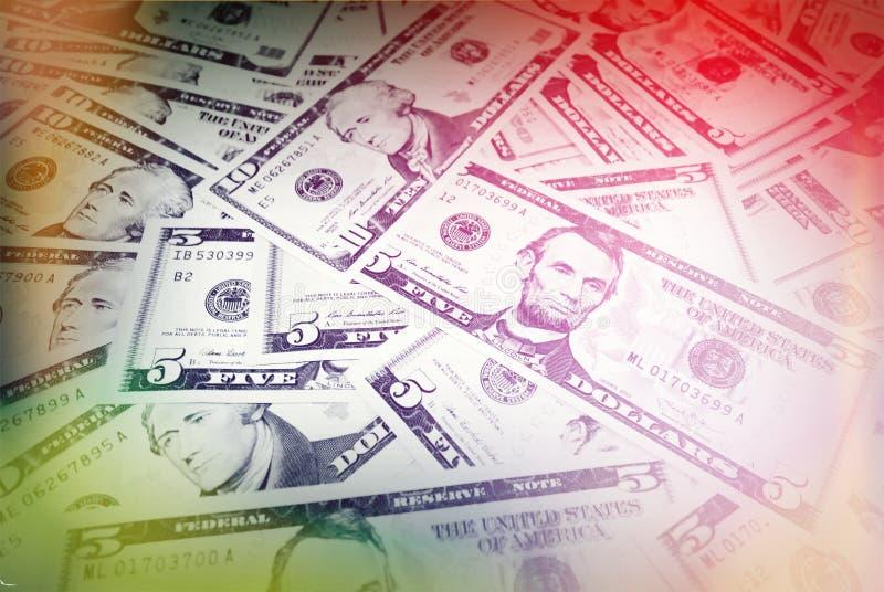 Antecedentes de cuentas de dólar Dinero mezclado de los E.E.U.U. Versión del vintage fotos de archivo libres de regalías