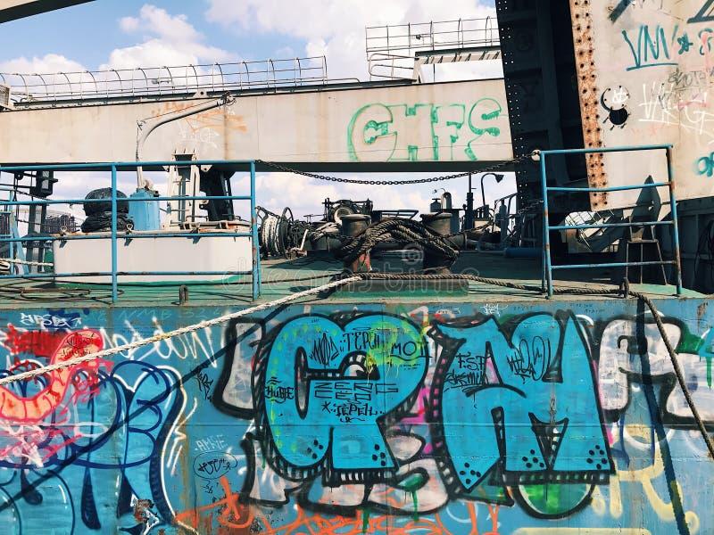 Antecedentes de la pared de la pintada Arte urbano de la calle fotos de archivo libres de regalías