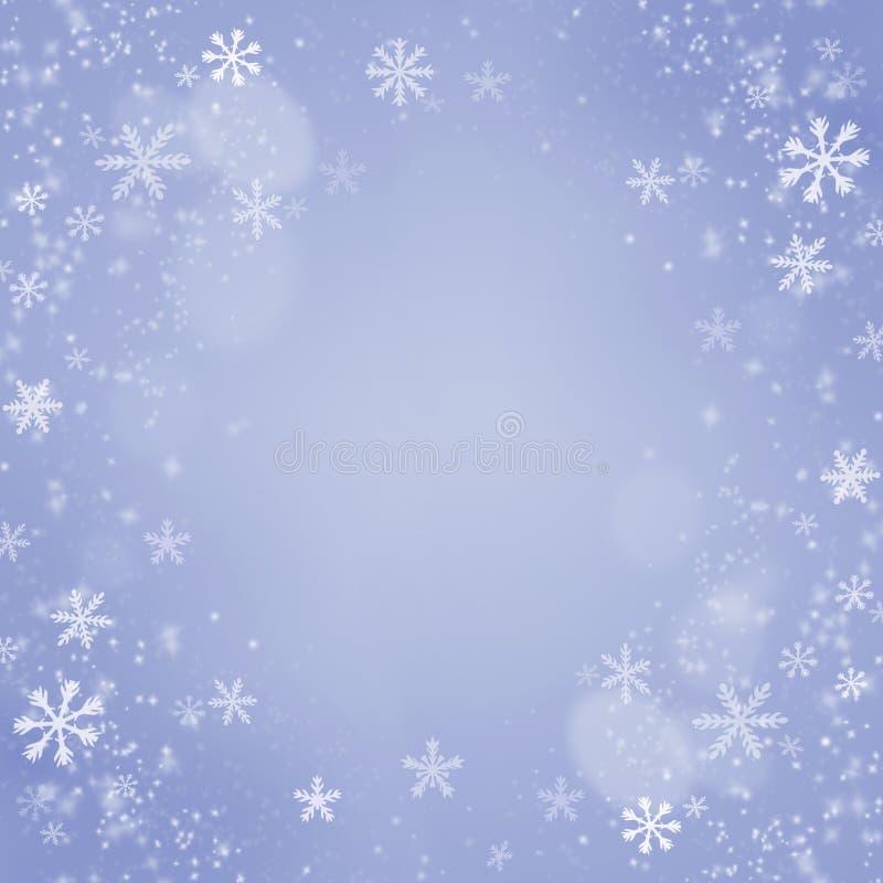 Antecedentes de los copos de nieve de la Navidad. Tarjeta del azul del día de fiesta libre illustration