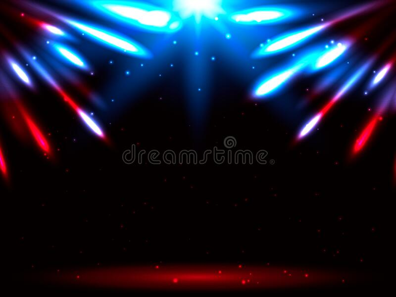 Antecedentes do Fireworks num céu estelar Exemplo de estoque vetorial para cartaz ilustração stock