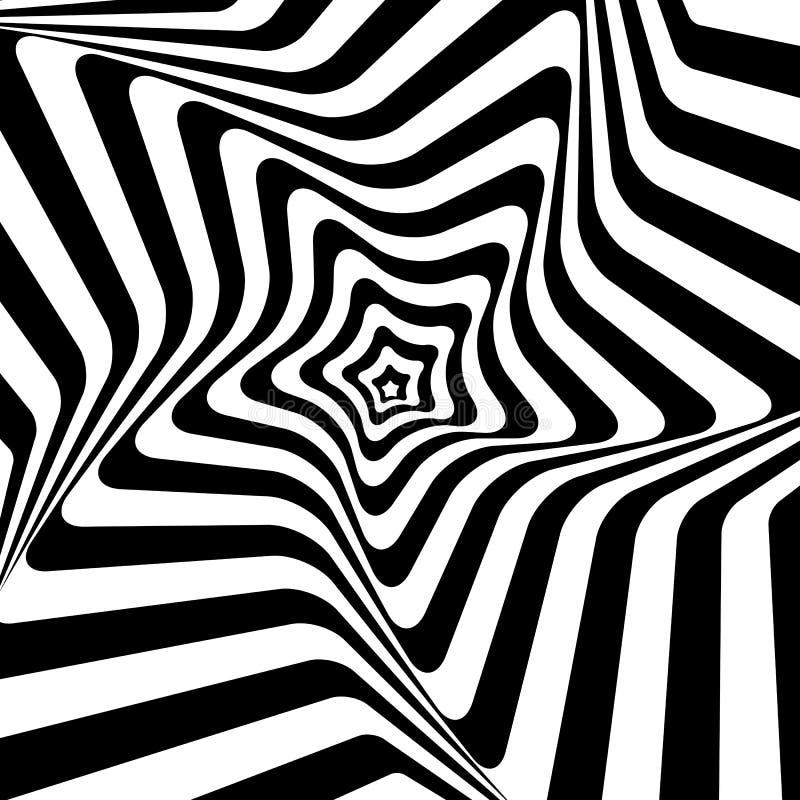 Antecedentes hipnóticos blancos y negros. Vector stock de ilustración