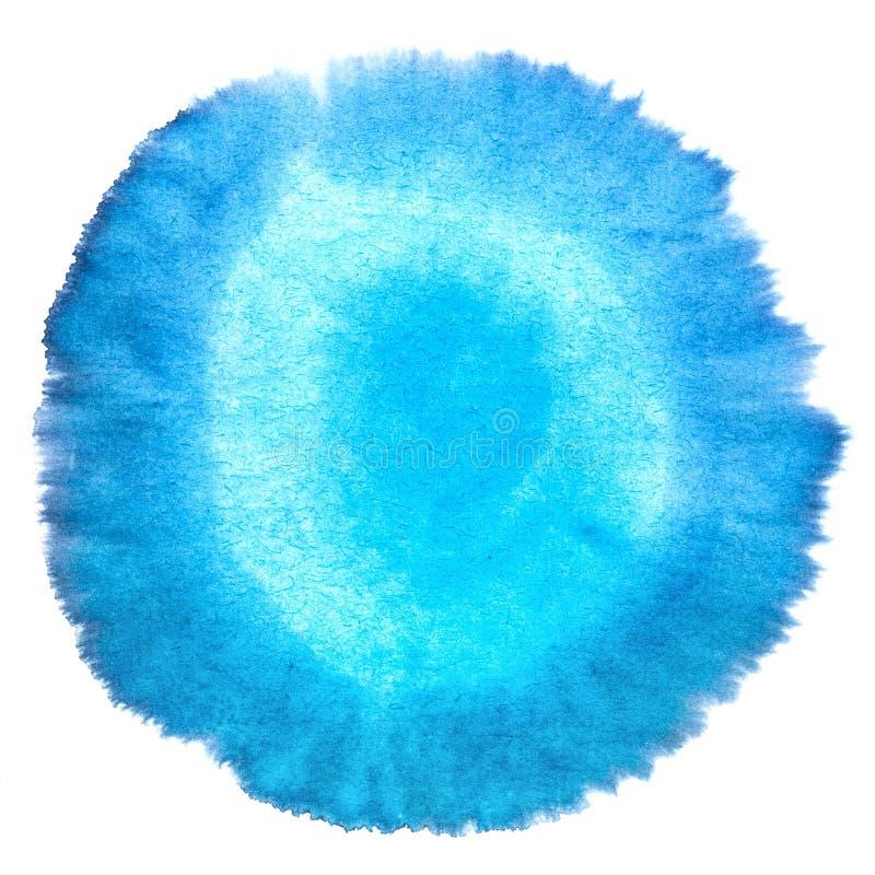 Antecedentes macros manchados extracto azul en blanco de la textura de la acuarela. ilustración del vector