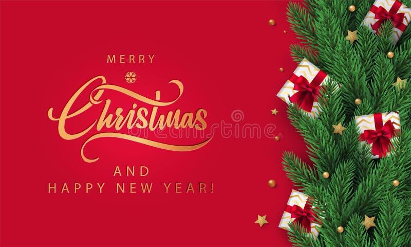 Antecedentes navideños rojos con deseos de temporada y marco fronterizo hecho de árbol de Navidad realista y cajas de regalo en r stock de ilustración