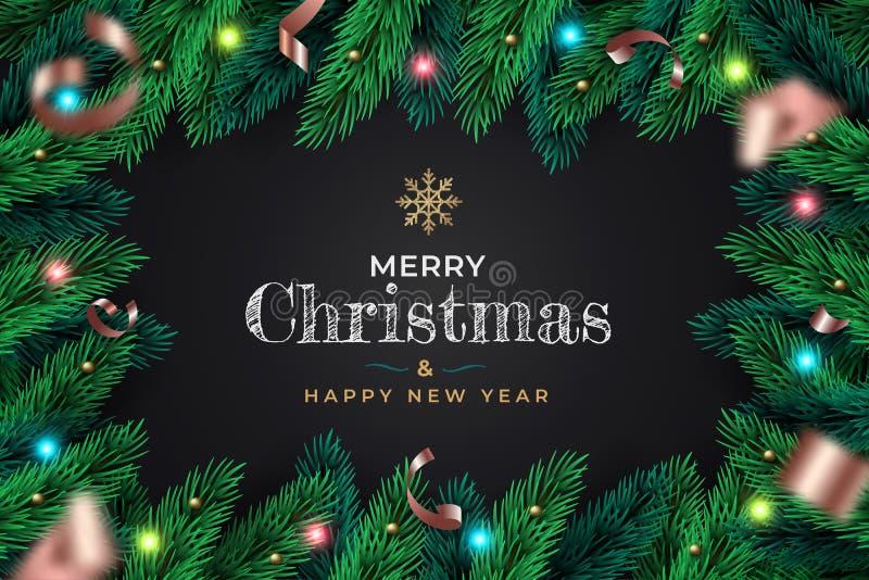 Antecedentes realistas de la guerra de Navidad Xmas ramas decorativas de pino, confetti, bolas doradas libre illustration