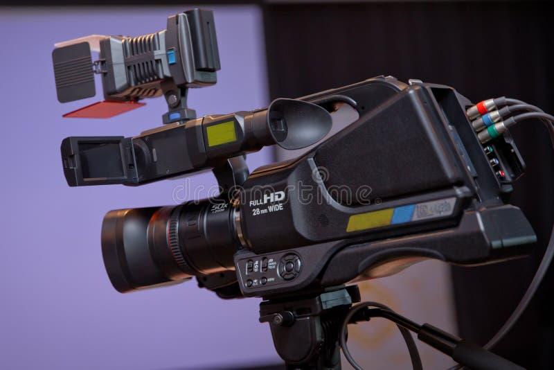 Anteckna apparaten för att anteckna händelsen för TV-sändning - bild arkivfoton