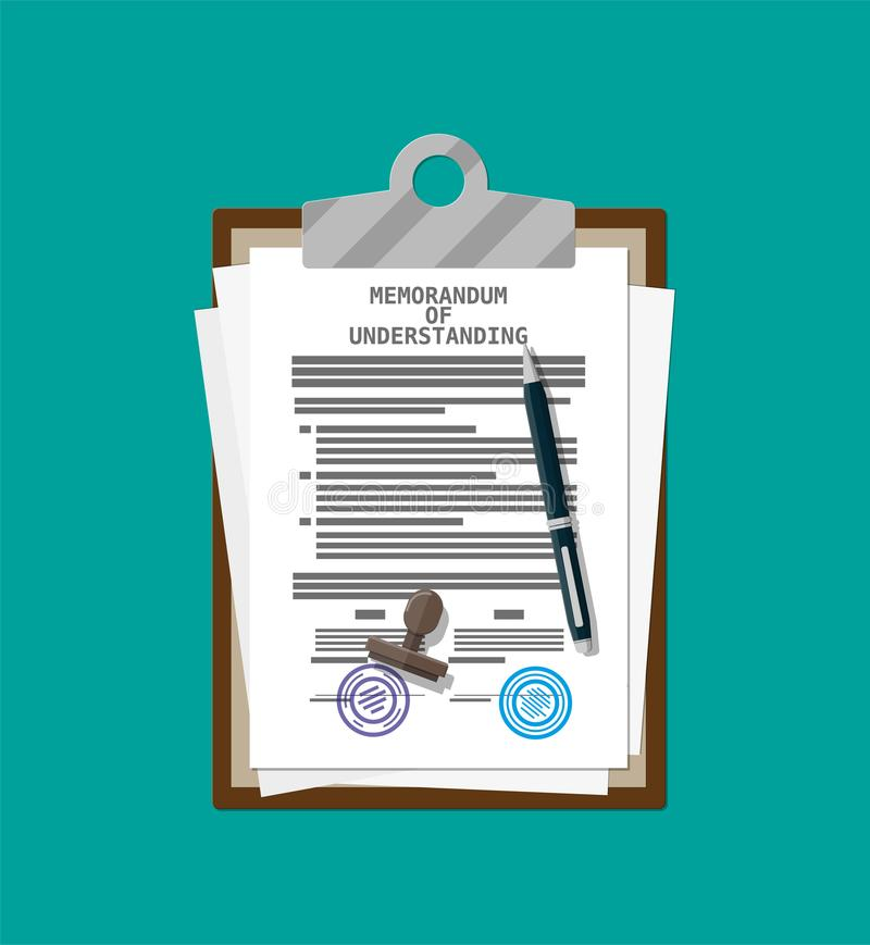 Anteckning av överenskommelsedokumentet stock illustrationer