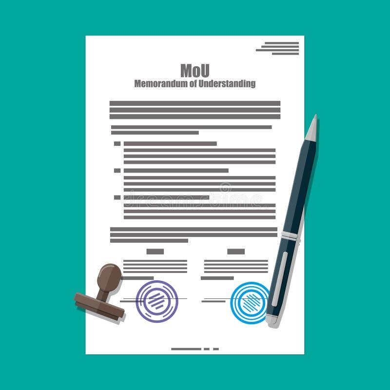 Anteckning av överenskommelsedokumentet royaltyfri illustrationer