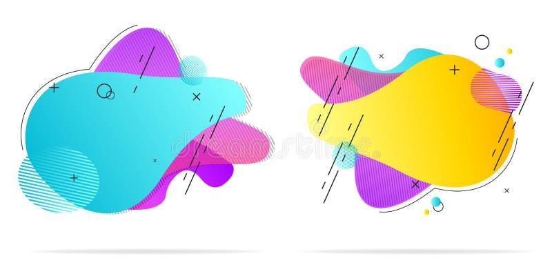 Anteckning av vätskeformer V?tskedesign Isolerad våglutning med tillägget av linjer och punkter Moderna vektorillustrationer stock illustrationer
